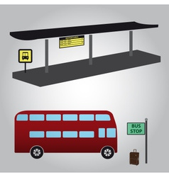 Bus stop and bus eps10 vector