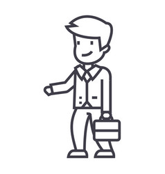 businessman with case sign line icon sign vector image