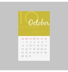 Calendar 2017 months october week starts sunday vector