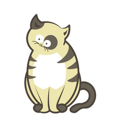 Cartoon cat kitten sitting flat icon vector