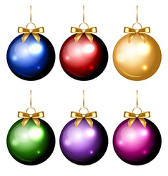 christmas balls colorful isolated vector image
