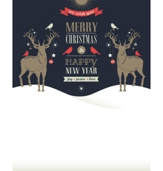 Christmas vintage greeting card retro concept with vector image vector image