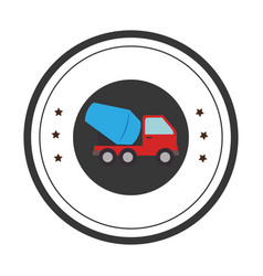 Color circular emblem with cement mixer truck vector