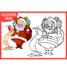 Coloring page Happy Santa Claus with a bag of vector image