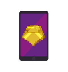 Diamond pixelated videogame vector