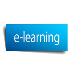 E-learning blue paper sign on white background vector