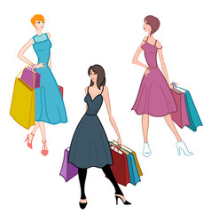 fasionable girl with shopping bags vector image vector image