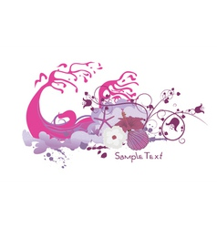 floral with grunge and sea creatures vector image vector image