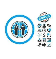 Global partnership flat icon with bonus vector