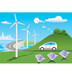 Green car is traveling among green energy sources vector image vector image