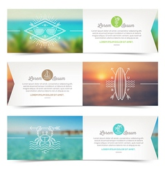 Horizontal banners with line drawing summer vector