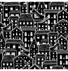 Houses new pattern monochrome vector
