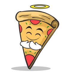 innocent face pizza character cartoon vector image vector image