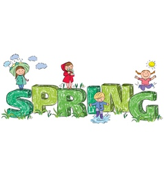Kids on the letters spring vector