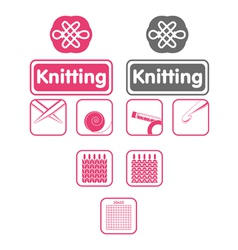 Knit icons vector