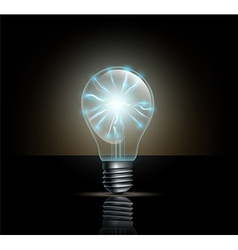 light bulb with lightning inside on a dark vector image vector image