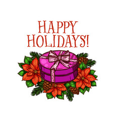 merry christmas happy holiday gifts sketch vector image vector image