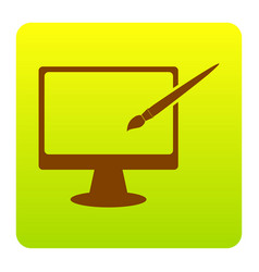 monitor with brush sign brown icon at vector image vector image