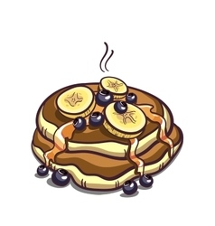 Pancakes With Bananas On White vector image