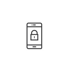 phone lock icon line style vector image vector image