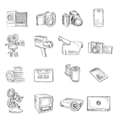 Photo video doodle icons vector