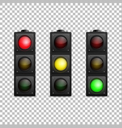 realistic traffic light set isolated led vector image