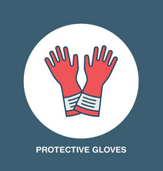 Safety gloves hand protection flat line icon vector