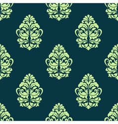 Seamless green floral pattern vector