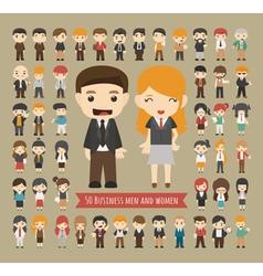 Set of 50 business men and women vector
