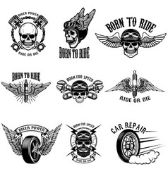 Set of biker emblems on white background racers vector