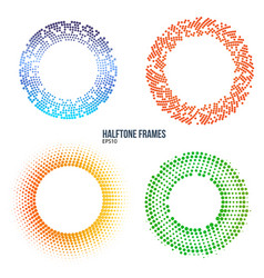 Set of halftone color circle frames design vector