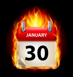 Thirtieth january in calendar burning icon on vector