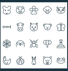 Zoology icons set collection of marsupial piglet vector