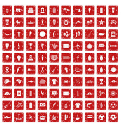100 south america icons set grunge red vector