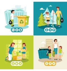 Garbage recycling 4 flat icons square vector
