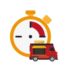 Chronometer and fast food truck icon vector