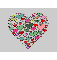 Hand-drawn Valentines Day big love colorful heart vector image