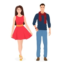 Beautiful young couple together cartoon students vector
