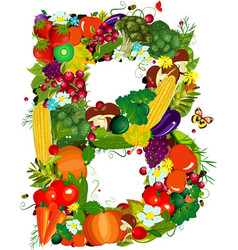 LETTERS vegetabless B vector image