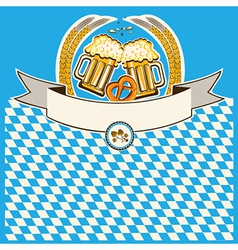 Two glasses of beer on bavaria flag background vector
