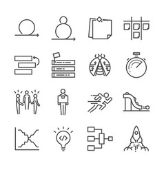 Agile software development icons set vector