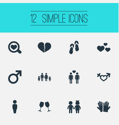 Set of simple lovers icons elements beach sandals vector