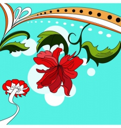Colorful background with red flowers vector