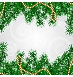 Christmas frame with fir and decorations vector