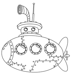 Outlined submarine vector