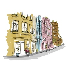 Sketch of old street for your design vector