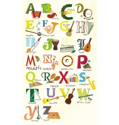 Classical musical instruments alphabet vector