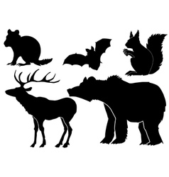 Set of silhouettes of forest animals vector
