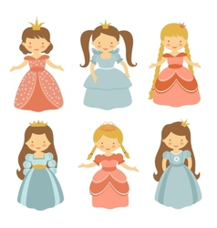 Beautiful princesses set vector