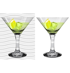 Transparent and opaque full martini glasses vector